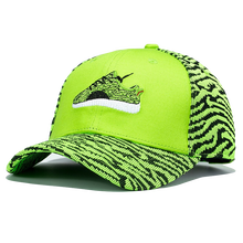 Fashion Design Shoe Embroidery Baseball Cap Men Women Stripe Caps Fluorescent Green Hat