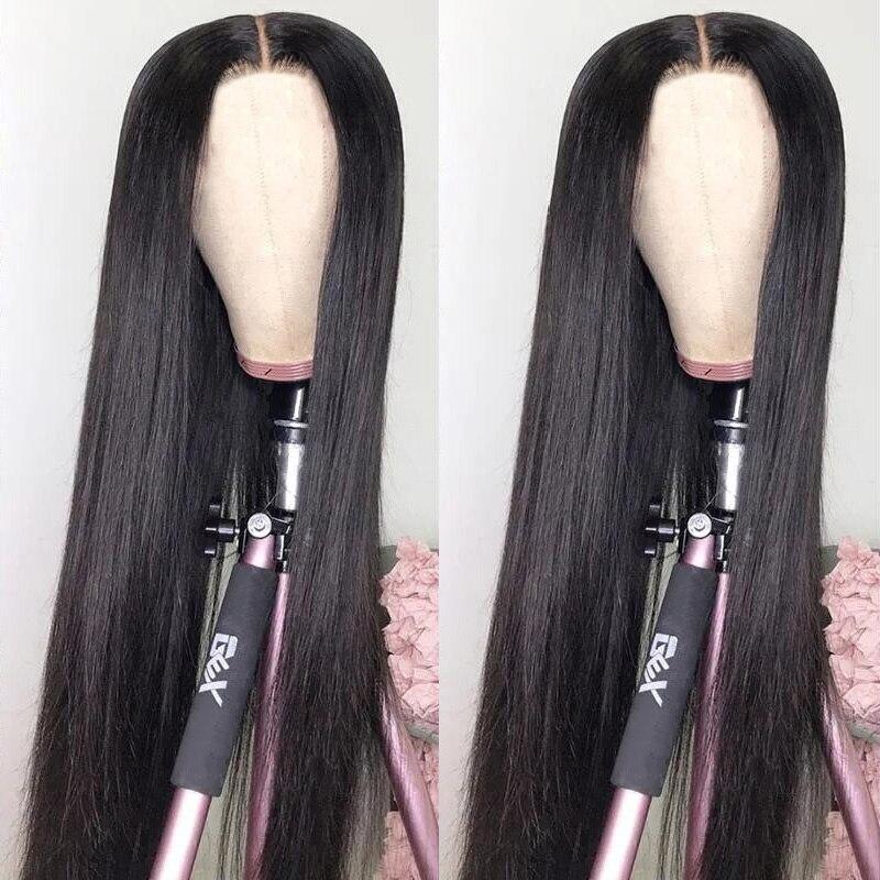Cabelo humano reto 30 Polegada 4x1 perucas da parte do laço para as mulheres aircabin brasileiro glueless parte média 150% densidade perucas de cor natural