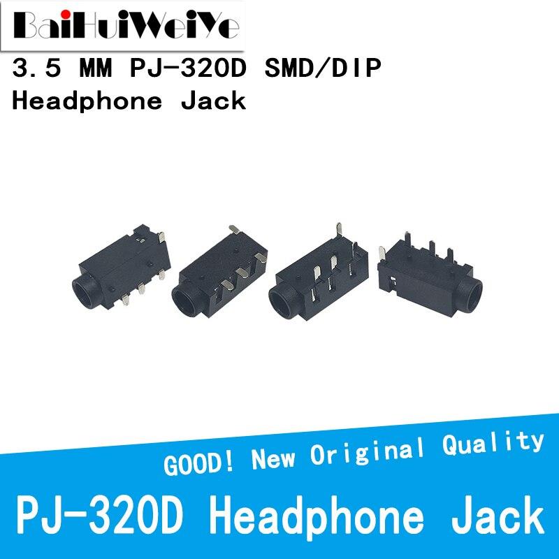 20PCS/LOT 3.5 MM Headphone Jack Audio Jack PJ-320D 4-Line Pin Female Connector DIP SMD stereo headphones PJ-320 PJ320D PJ320