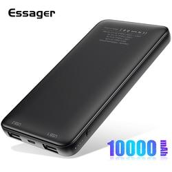 Essager magro power bank 10000mah dupla usb powerbank para xiao mi 9 iphone 10000mah poverbank carregador portátil bateria externa