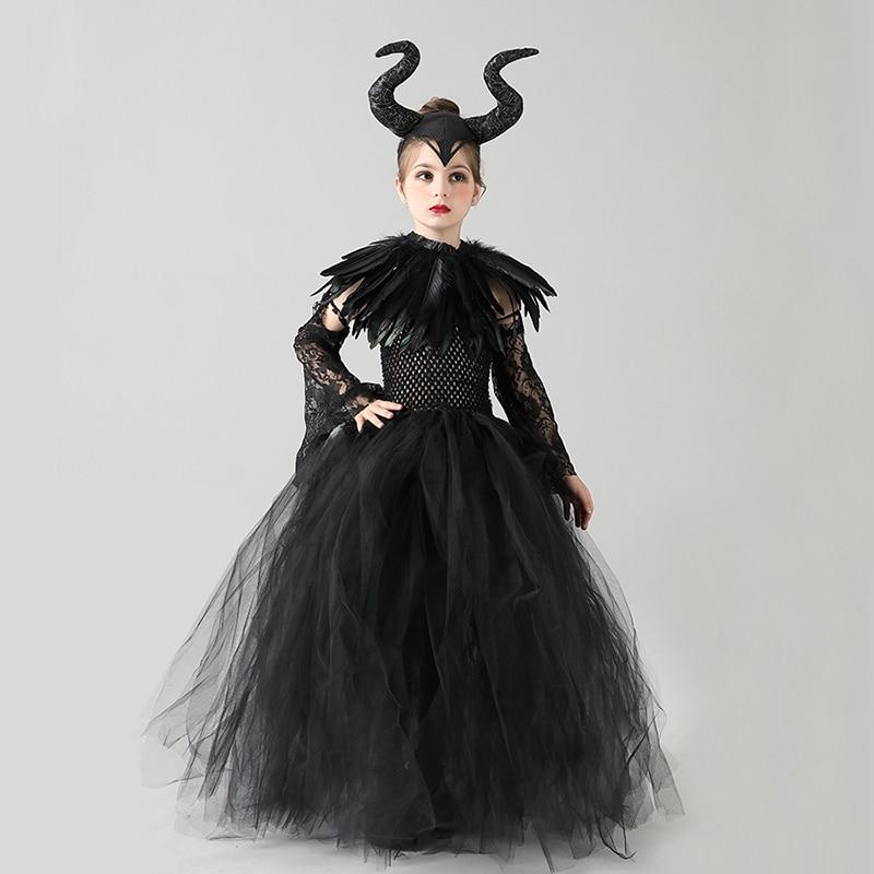 Kids Black Devil Tutu Costume Gothic Halloween Girls Fancy Tutu Dress with Feather Shawl Royal Dark Queen Maleficent Gown Dress (9)