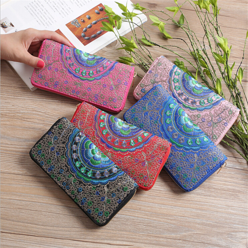 Flower Embroidered Wallet Purse Handmade Ethnic Flowers Embroidery Hot  Fashion Women Long Wallet Phone Hand Bag,Women Clutch