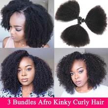 Mongol Afro Pelo Rizado mechones 3 mechones Deal 8 22 pulgadas extensiones de cabello humano mechones cabello no Remy Beauty Lueen extensiones