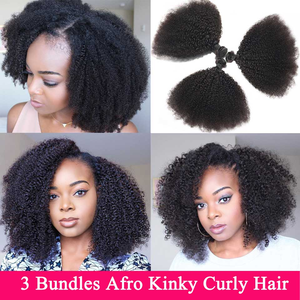 Mongolian Afro Kinky Curly Hair Bundles 3 Bundles Deal 8-22 inches Human Hair Bundles Non Remy Beauty Lueen Hair Extensions