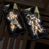 EKIND Dragon Ball series Tempered Glass Phone Case for iPhone X XS XSMAX Led LOGO flash Glass Case For iPhone Protective Phone