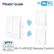 WiFi Smart Push Button Switch 2 Way RF433 Wall Panel Transmitter Kit Smart life Tuya App Control Works with Alexa Google Home