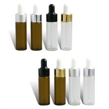 50 x seyahat Emptpy 10ml 15ml cam uçucu yağ damlalık şişesi 1/3oz damla sıvı pipet kavanozları 1/2oz Amber kozmetik ambalaj