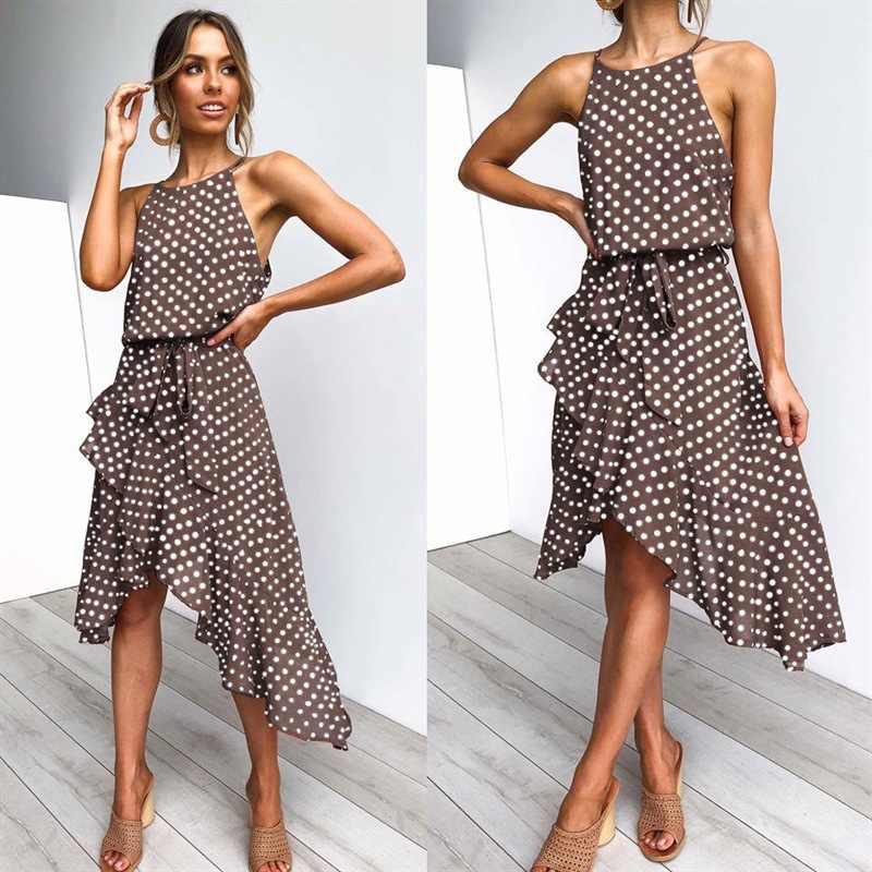 Frauen Sommer Kleid Polka Dot Chiffon-Sleeveless Strand Midi Casual Braun Kleid 2020 Mode Plus Größe Kleid Für Frauen