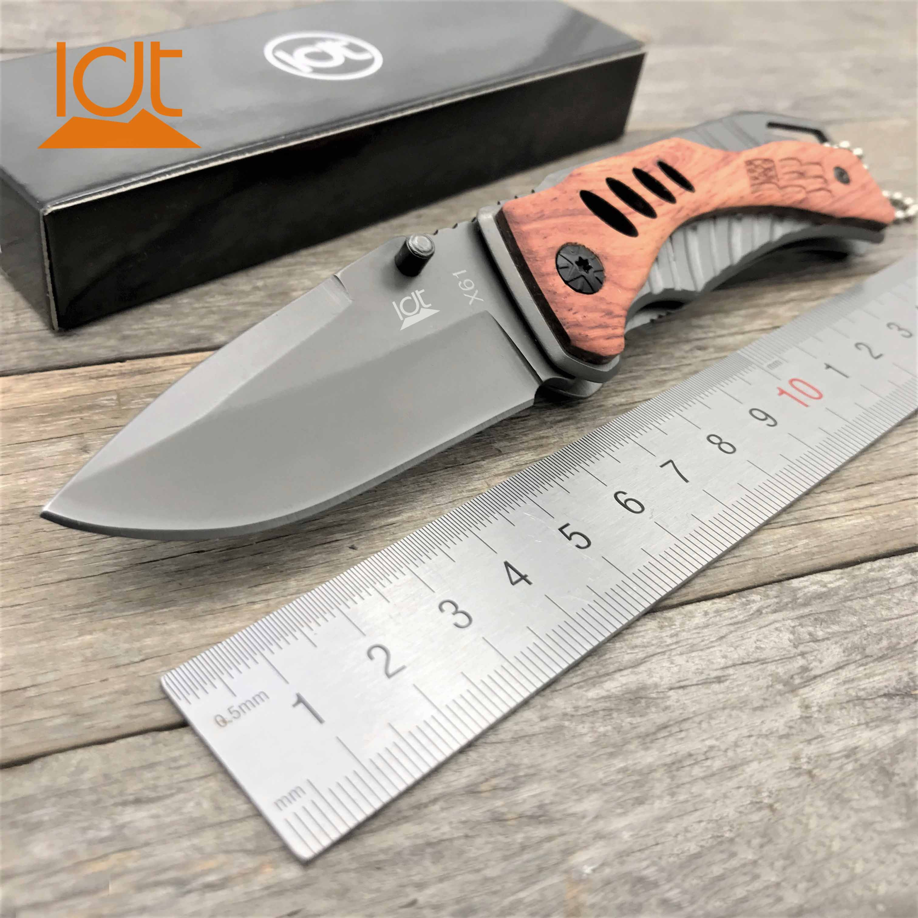 LDT X61/X70 Folding Knife 5Cr13Mov Blade Rosewood+Steel Handle Knives Camping Survival Hunting  Pocket  Tactical Knife EDC Tool