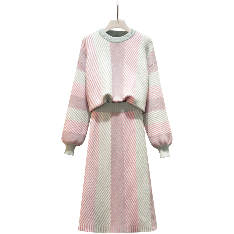 Large Plus Size Women Knitted Skirt Suit Autumn Winter Sweater Tops +Skirt Two Piece Set Elegant Long Sleeve Pullover Warm Set