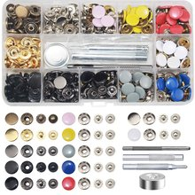 120 Sets Metal Snap On Buttons Set Press Studs With Fixing Tools For Thin Leather Bracelet,Jacket,Jeans Repair Decoration-12.5Mm(China)