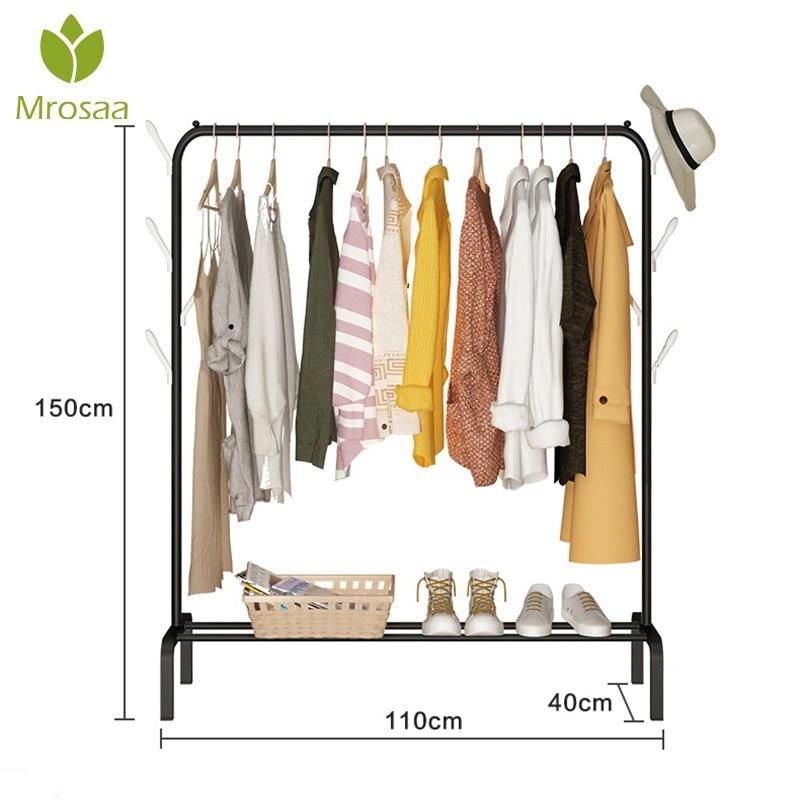 Clothes Hanger Coat Rack Floor Hanger Storage Wardrobe Clothing Drying Racks Multifunction Metal Iron Coat Rack Bedroom Shelf