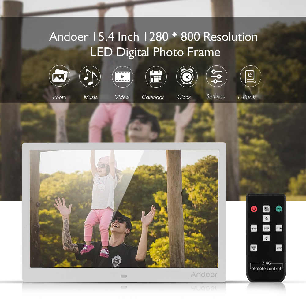 Andoer 15.4 Inch 1280 * 800 LED Digital Picture Photo Frame Photo Album 1080P HD Video Playing with 2.4G Wireless Remote Control