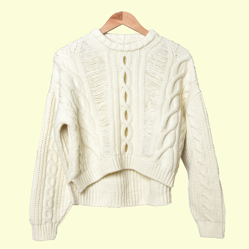 19 Sweet Joker Hollow Out Twist Round Neck Pullover Knitting Shirt Top Female 91086