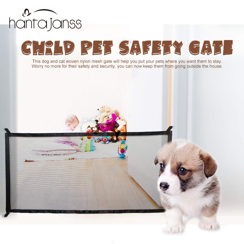 Pet Dog Gate  Ingenious Mesh Magic Pet Gate For Dogs Safe Guard And Install Pet Dog Safety Enclosure Dog Fences  Dropshipping