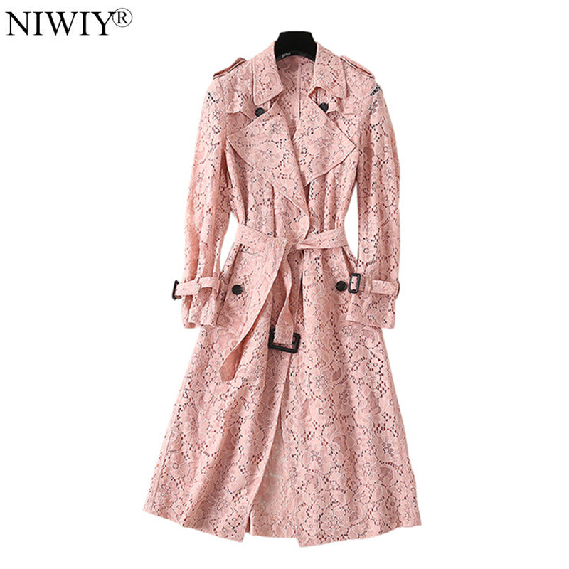 New Autumn Openwork Blue Lace Trench Coat Chaquetas Mujer Invierno 2020 Long Sleeve Pink Women Coat Campera Mujer D9058