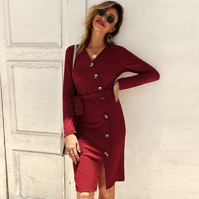 Sexy V Neck Autumn Long Sleeve Women Knitted Sweater Dress 2019 Solid Leisure Sashes Bodycon Button Midi Party Dress Robe Femme 2