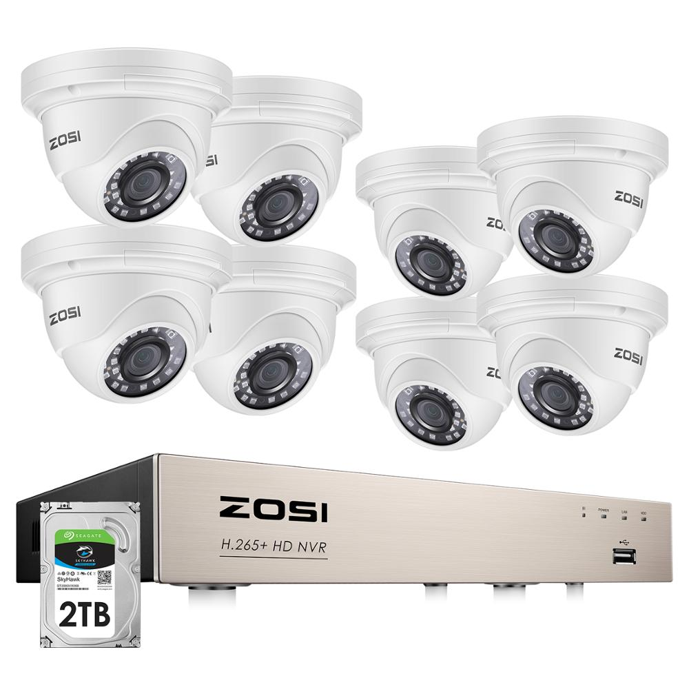 Kit de NVR POE ZOSI H.265 + 8CH 5MP sistema de seguridad CCTV para el hogar 8 Uds 5MP cámara domo IP impermeable conjunto de videovigilancia para el hogar Sistema de alarma de casa, intercomunicador con alarma Wifi GSM, Control remoto, Autodial, detectores de 433MHz, IOS, Android, Tuya, teclado táctil con Control de aplicación