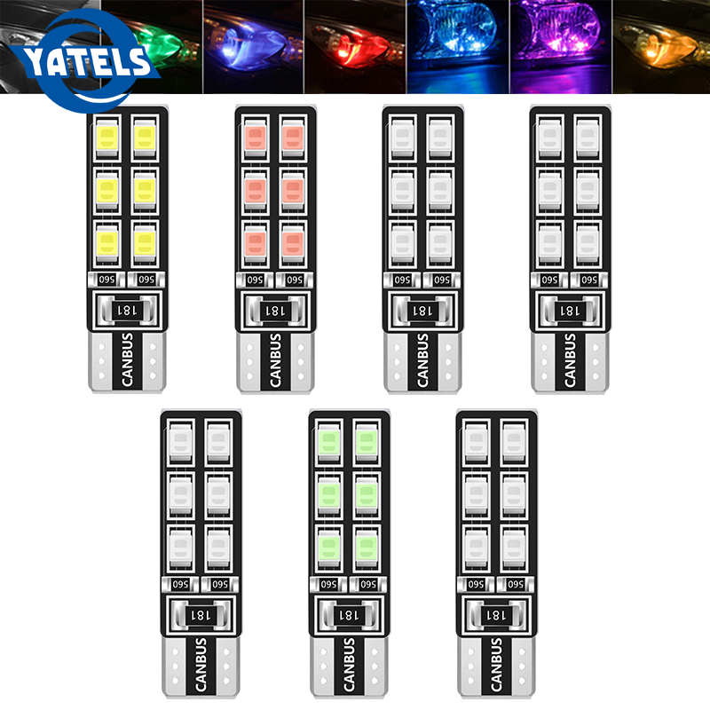 1PCS T10 W5W Car LED Light CANBUS 12 Light 3528 SMD Clearance Light Reading Light 194 168 2825 Light Bulb Signal Light White 12V