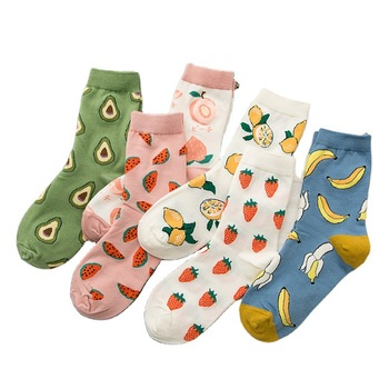 Socks Women's Stockings Ins Fashion Spring and Summer Cotton Thin Korean Japanese Cute Fruit Green C