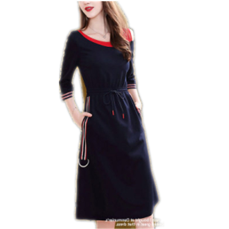 H227613f2fc3f404ebad112438d15fff2R - Fashion New Drawstring Dress Women Elegant Slim Three Quarter Sleeve Casual Dress Korean Style A-Line Female Knee-Length Dress