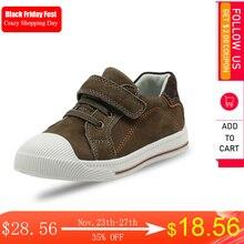 Детские кожаные кроссовки Apakowa с низким верхом, на липучке, для мальчиков и девочек, уличная Нескользящая повседневная спортивная обувь для бега