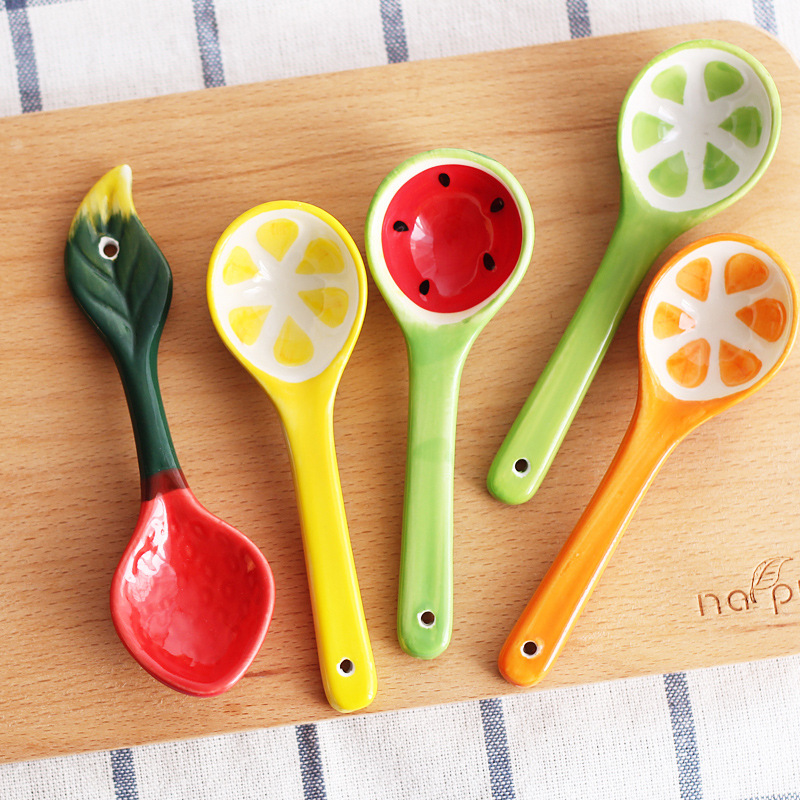 1 Pc Baby Tableware Spoon Children Cute Fruit Style Long Handle Spoon Health Ceramic Baby Feeding Creative Utensils Accessories