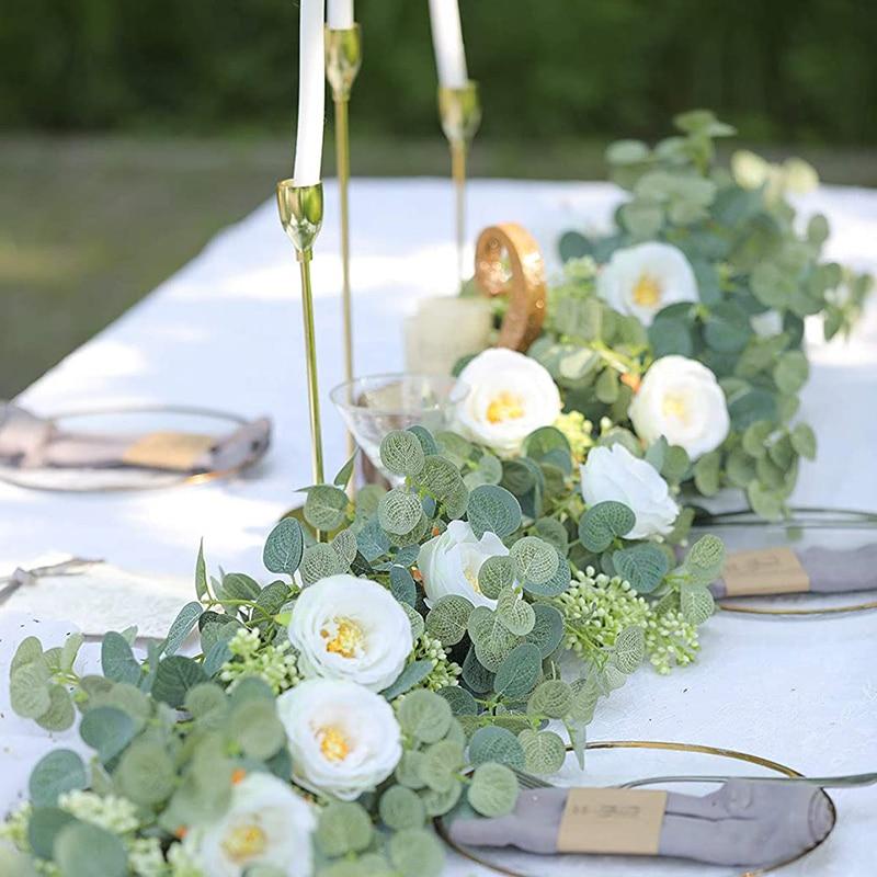 Gefälschte Weiß Rose Vine Garland Hänge Künstliche Blumen Pflanzen Mit Ivy Eukalyptus Blätter Hochzeit Hotel Party Garten Wand Dekor