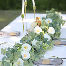 Fake White Rose Vine Garland Hanging Artificial Flowers Plants With Ivy Eucalyptus Leaves Wedding Hotel Party Garden Wall Decor