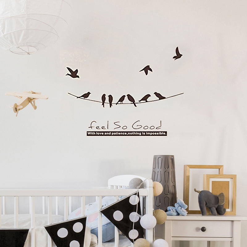 Vinyl Art Removable Home Decoration Feel So Good Birds On The Wire Wall Sticker Beauty Fashion Ornament Modern Poster Ly1797 Wall Stickers Aliexpress