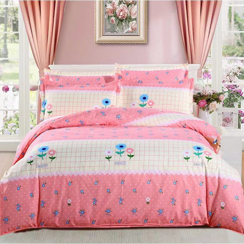 Quilt Cover+Bed Sheet + Pillow Case Decor Brand 100% Cotton Bed Sheets Na Home Textile Para Bed Sheet Flower Pattern