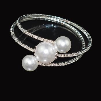 Trendy Rhinestone Silver Plated   pearl bracelet 5