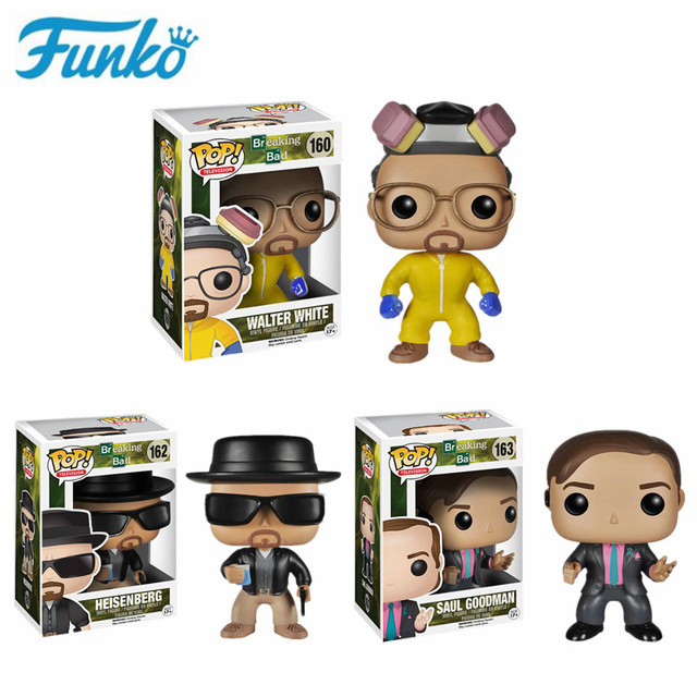 FUNKO Breaking Bad Heisenbergวอลเตอร์สีขาวซาอูลGOODMANตัวเลขการกระทำไวนิลของเล่นสำหรับคริสต์มาสวันเกิดของขวัญ