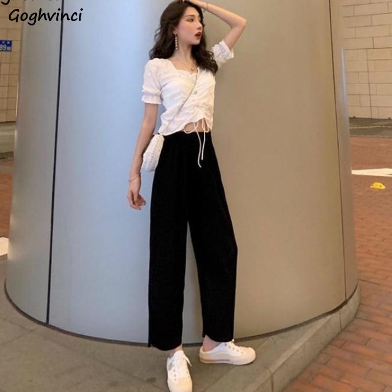 Kadın setleri 2 adet kırpma üstleri pileli v yaka dantel Up puf kollu gömlek elastik bel pantolon katı gevşek artı boyutu 2XL rahat moda