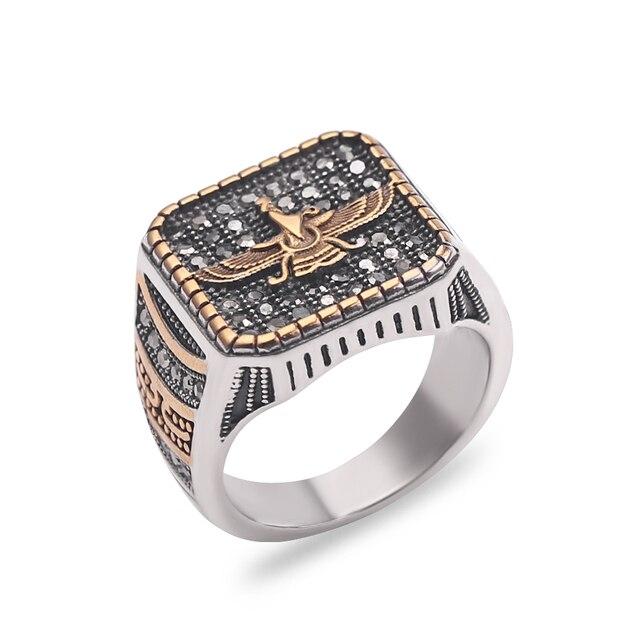 Vintage Religious Ring Islam Iran Faravahar Ahura Mazda Rings Gold Color Zoroastrian Ring Men Male Hip hop Jewelry Gifts