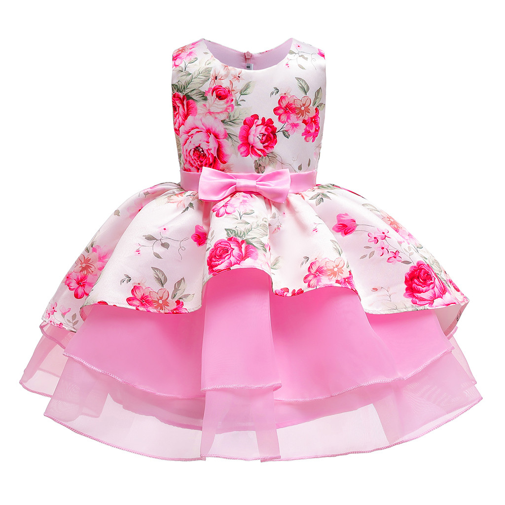 Kids Baby Girls Party Birthday Floral Dress Wedding Bridesmaid Princess Dresses