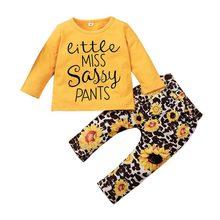 Осенний Детский комплект для девочек футболка с длинным рукавом