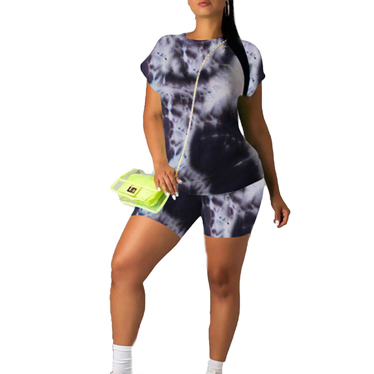 Womens 2 Piece Workout Outfit Sports Suit Athletic Tracksuit T-Shirt and Shorts Slim Fit Yoga Clothes Set