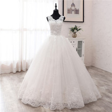 New Fashion Simple V Neck Wedding Dresses Off White Floor Train Applique Sleeveless Ball Gown Princess Bridal Vestido De Noiva
