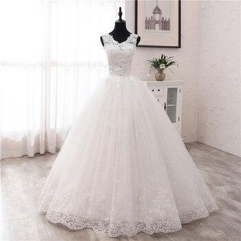 New Fashion simple V Neck Wedding Dresses off white Floor train Applique Sleeveless Ball Gown Princess Bridal Vestido De Noiva 6 - discount item  45% OFF Wedding Dresses