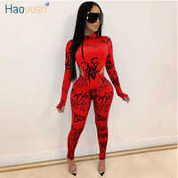 HAOYUAN Two Piece Set Women 2020 Fall Winter Rave Festival Clothing Bodysuit Top Pant Matching Sets Sexy Club Birthday Outfits