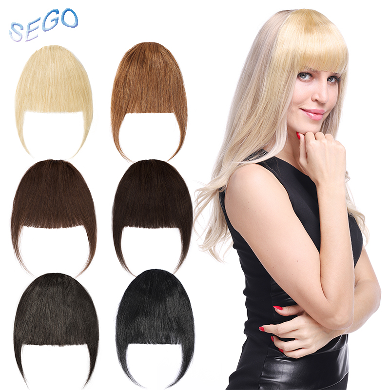 Hair-Extensions Bang Human-Hair-Bangs Natural-Hairpieces Front-Fringe SEGO Remy Clip-In