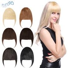 SEGO 25 г аккуратный фронт бахрома зажим в человеческий волосы челка Реми волосы наращивание подметание сбоку тупой челка натуральный шиньоны 8 цветов