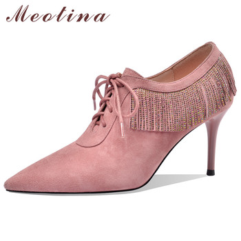 Meotina High Heels Women Pumps Kid Suede Thin High Heel Party Shoes Real Leather Fringe Pointed Toe Shoes Female Pink Size 34-40