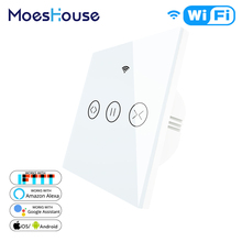 WiFi Smart Curtain Blind Switch for Electric Motorized Tuya Curtain Roller Shutter Works with Alexa Echo Google Home Smart Home cheap MoesHouse Plastic WS-EUR-CW APP control AC 100-240V 50 60HZ Alexa Google Home Smart Life Tuya IEEE 802 11 b g n 2 4GHz Smart blinds Smart Curtain Roller Blinds
