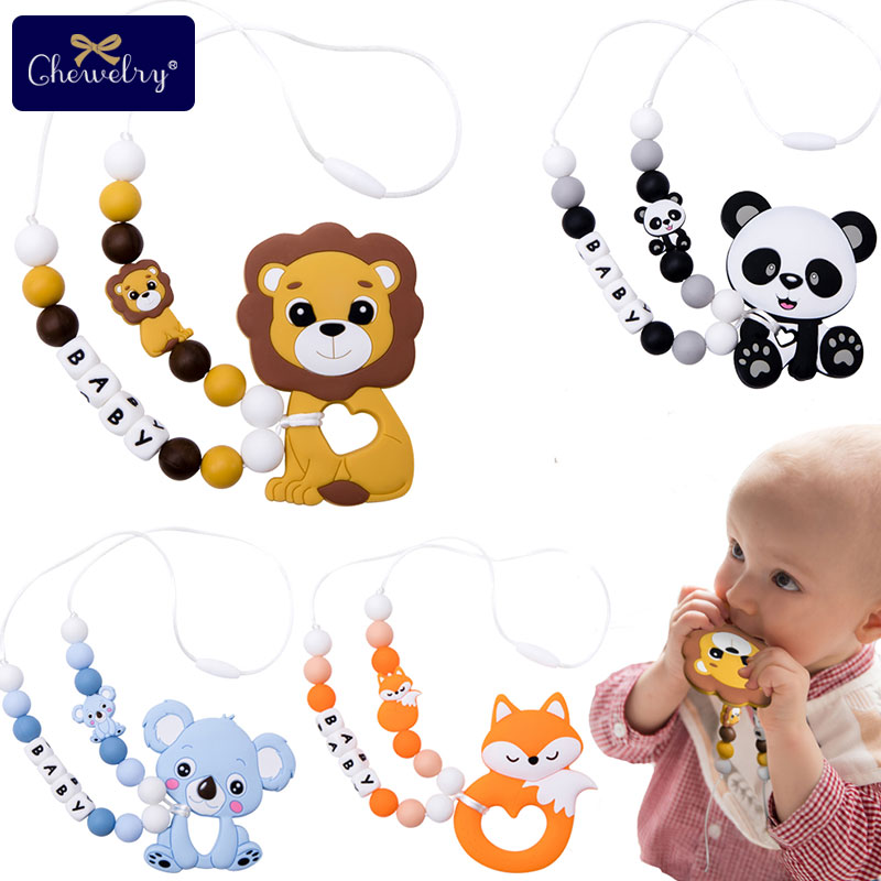1PC Baby Teething Toys Personalize Necklace Fox Lion Cartoon Rodent Silicone Pacifier Pendant DIY Chew Teether For Kids Goods