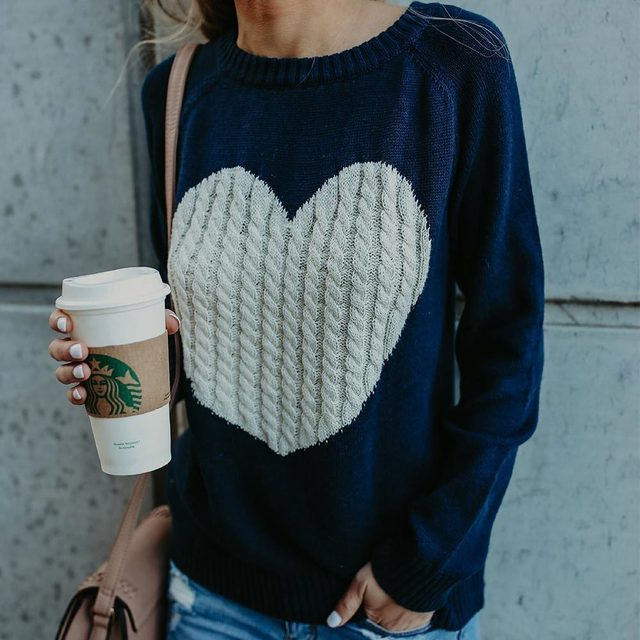 Casual Autumn Winter Pullover Long Sleeve O Neck Heart Knitted Women Sweaters Slim Pull Femme Jumpers 3XL Size Loose Sweater 4