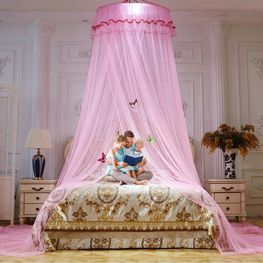Vaorwne Dosel de Cama Colores Dobles Colgado Mosquitera Princesa Cama Tienda Cortina Toldo Plegable en la Cama Elegante Hada Encaje 5