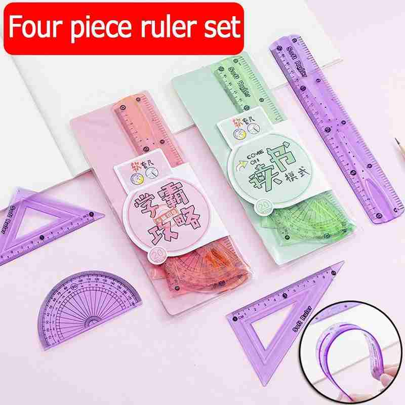 1 Set Soft Rulers Cartoon Ruler Four Sets Of Straight Ruler Triangle Ruler Angle Ruler Students Special Sattionery Supplies