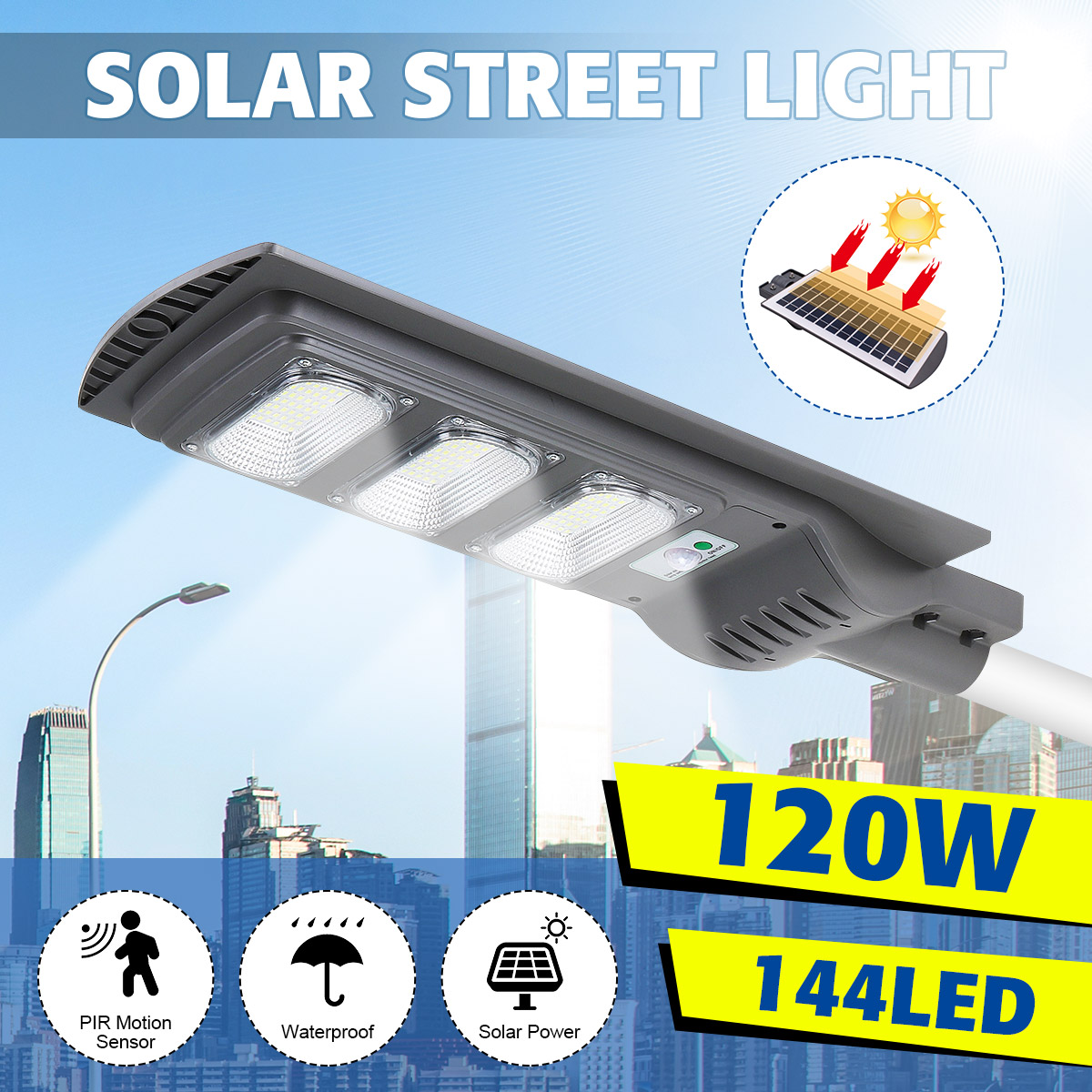 120W LED Solar Street Light Wall Lamp Light Control+Radar Induction+Timing Outdoor Lamp Waterproof Security Lamp For Garden Yard